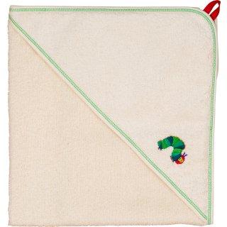 Smithy Kapuzenhandtuch Raupe Nimmersatt aus 100% BIO-Baumwolle, 80 x 80 cm
