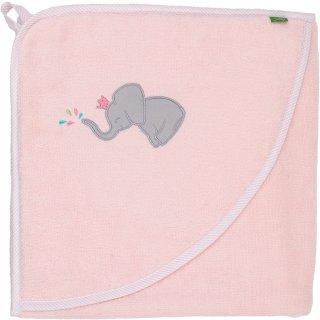 Smithy Kapuzenhandtuch Premium-Baumwolle rosa mit Elefant, 100 x 100 cm