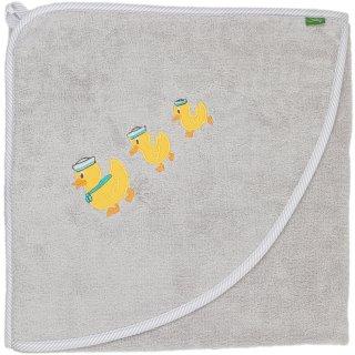 Smithy Kapuzenhandtuch Premium-Baumwolle grau mit Ente, 100 x 100 cm