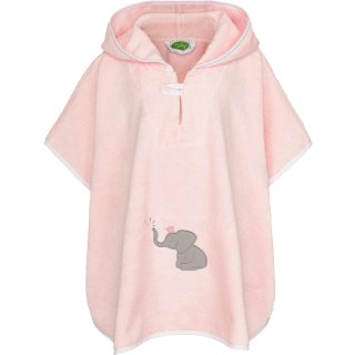 Smithy Badeponcho Premium Baumwolle, rosa mit Elefant